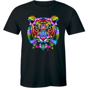 Colorful Tiger Face Neture Wild Animal T-shirt Tee